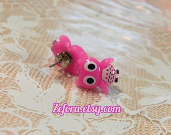 Kawaii Owl Bird Pink Stud Earrings