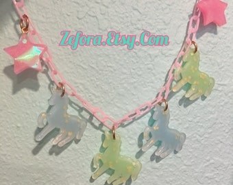 Unicorn Charms And Holographic Stars Pink Plastic Chain Necklace
