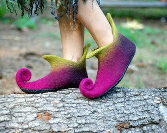 Fairy shoes home shoes pink boots woodland shoes medieval shoes magical shoes,  Custom colors HANDMADE TO ORDER