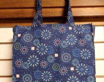 Japanese Hanabi Fireworks Tote Bag in Navy, Navy Fireworks TIGHT 'N' TIDY Tote Bag, Reusable Folding Shopping Bag