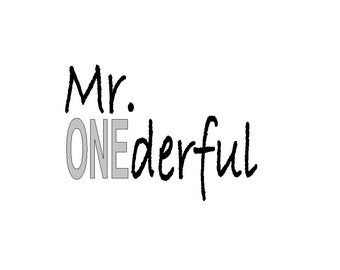 Mr ONE derful one year old tshirt iron on DECAL  ONLY do it yourself  tshirt is not included