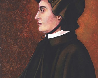 "St. Elizabeth Ann Seton Religious, Widow, Founder, Catholic Art on canvas 11x 14"""