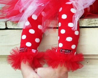"Red & White Polka Dots ruffle tutu leg warmers - Perfect for Birthday, Photo Prop, costume, crawling baby 6m to girls 6X approx 12"" long"