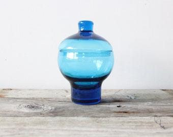 Blue Blown Poland Glass Storage Jar
