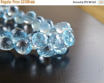 Clearance SALE Sky Blue Topaz Gemstone Briolette Faceted Onion Drop 8mm 4 beads