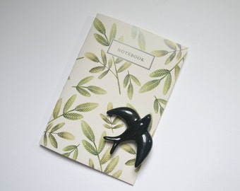 Green leaves notebook A5 blank
