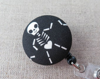 Badge Reel | Retractable Badge Holder,  Nurse Badge Reel, ID Badge Holder, Badge Clip, Cute Badge Reel - SKELETON