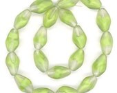 Vintage Givre Beads 15mm Lime Green Matte Finish Twists 20 Pcs. Made in W. Germany