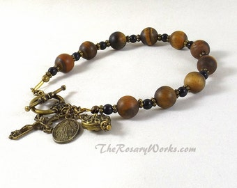 Rosary Bracelet Miraculous Medal Matte Tiger Eye Brown Black Onyx St Benedict Holy Spirit Chaplet Single Decade Prayer Beads
