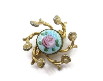 Vintage Brooch - Guilloche Enamel and Faux Pearls, 1950s Costume Jewelry