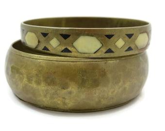 Brass Bangle Set - Gypsy Boho Bangle Bracelets, Black and Cream Shell Inlay, Hammered Finish