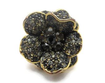 Joan Rivers Jewelry - Rhinestone Flower Ring, Statement, Black, Gold Tone, Designer Costume Jewelry
