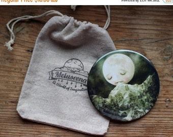 ON SALE The Peckish Moon pocket mirror | goodnight moon, art pocket mirror, little girl accessory, bridesmaid gift for girl | Lisa Falzon