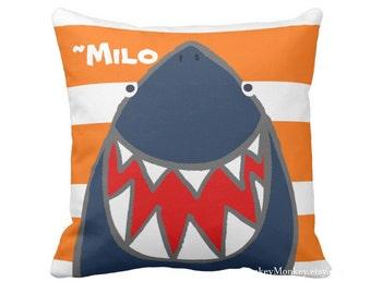 Fun Shark pillow toss pillow beach theme ocean fish surf sharks beach decor kids toddler boys girls teen adult personalized shark bedding