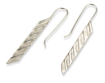 Long Geometric Earrings , Silver Geometric Dangle Earrings , Silver Bar Earrings , Geometric Hanging Earrings , Modern Earrings