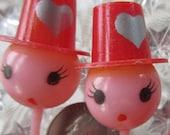5 Vintage Valentine Cupcake Picks Food Picks 1970s  Group A