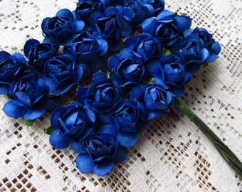 Paper Millinery Flowers 24 Petite Handmade Roses In Royal Blue