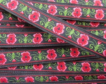 2 Yards Floral Trim Jacquard Ribbon Black With Pink Flowers Very Nice Quality VT 124