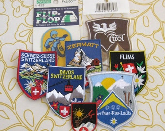 8 vintage souvenir travel patches badges SWITZERLAND 1980s travel Europe