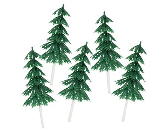 Pine Tree Picks - 12 green trees for topping cupcakes and cakes