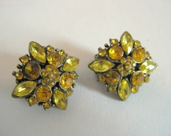 Free Shipping Vintage Rhinestone Clip On Square Earrings Yellow Gold Amber Brass Setting