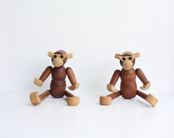 pair of two teak wooden articulate mid century danish modern Japan Japanese wooden wood monkey monkeys. 1950s. retro.