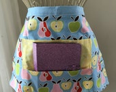 Vendor Half Waist Apron iPad Craft Teacher Art Blue Apple Pear Fruit Fabric (4 Pockets)