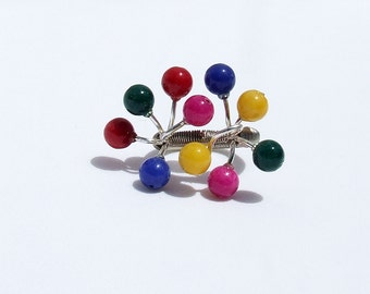 Modern  ring, beaded ring, multi color silver ring, ring size 6.5