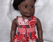 """American Girl/18"""" Doll Reversible Apron or Pinafore in Valentine and Red Gingham Fabric FREE SHIPPING"""