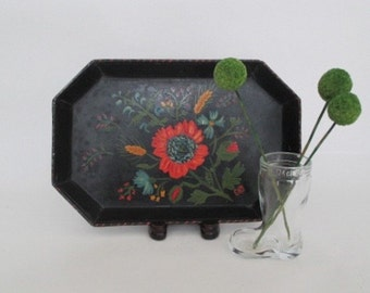 Vintage Hand-painted ToleTray Black Red Turquoise Yellow and Green Octagonal Signed
