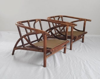 FICKS REED signed mid century rattan lounge chairs RESTORATION needed