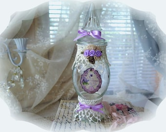Shabby Chic Vintage Lavender Altered Apothecary Bottle  Lavender Bows & Roses Bottle  Shabby Chic Home Decor