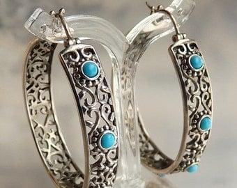 Sterling Silver 925 Turquoise Bead Hoop Earrings