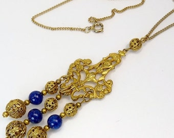 Victorian Revival Gold Filigree Bead Pendant Necklace
