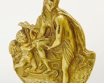 Vintage Gold Cupid Brooch Enos & Aphrodite Brooch