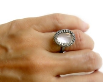 Rose Quartz Statement Ring Handmade Oxidized Sterling Silver
