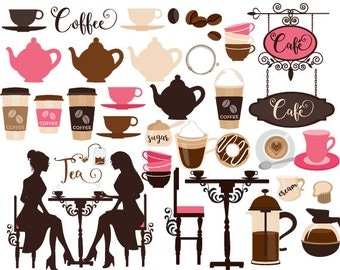 Coffee clipart coffeeshop clip art cafe tea clip art tea party latte cappuccino espresso teacups teapot digital clipart for scrapbooking