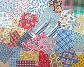 Vintage Fabric, Lot of Vintage Cotton and Feed Sack Fabric Scraps for Quilting, Small Projects,  Creative Use, 1930's-50's, Pack of 30+