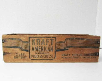 Vintage 1940's Kraft American Cheese Wooden Advertising Desk Top or Supply Organizing Box, Advertising on All Sides