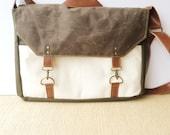 boss bag • crossbody messenger bag - laptop bag - mens bag • brown waxed canvas - natural canvas - olive industrial canvas • scout