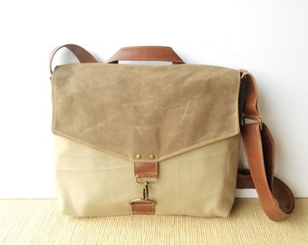 commuter • mens or womens crossbody messenger bag • khaki canvas - brown waxed canvas - industrial olive canvas • scout