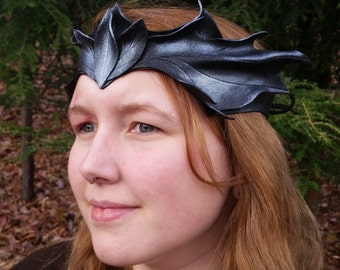 Leather Pixi Crown in Black