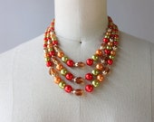 1960s Necklace / Vintage 60s Triple Strand Beaded Glass Necklace / 50s 60 Pearl Foliage Necklace