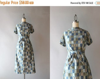 STOREWIDE SALE 1950s Bow Belt Wiggle Dress / 1960s Chloroplast Print Polished Cotton Dress / 50s Stacy Ames Fitted Dress