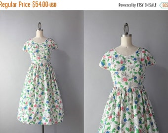 STOREWIDE SALE 1940s Dress / Vintage 40s Pink Leaves Novelty Print Dress / 40s White Printed Day Dress