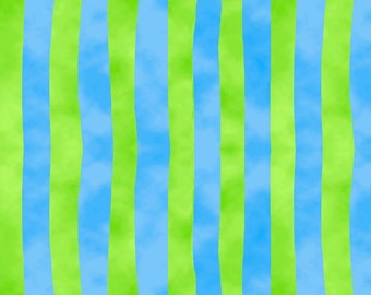 Stripes Blue Green Froggin Around Blank Quilting Fabric 1 yard