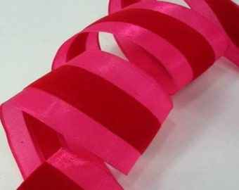 "Wired Ribbon 10 Yards 2 1/2"" Red Velvet Hot Pink Stripe Christmas Valentine"
