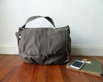Water Resistant canvas Messenger Bag GRAY, Mom Diaper bag , Cross body Bag, Travel bag , Tote Bag (Christmas in July - SALE - 25% / Daniel )