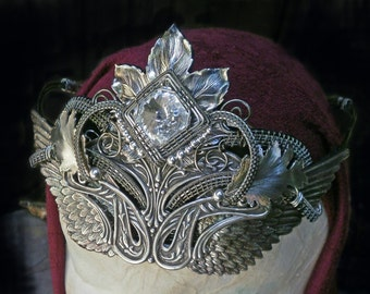 Gothic Steampunk Silver Crown with Swarovski Crystal