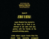 Personalized Star Wars parody poster for Logan's 7th birthday